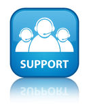Support (customer care team icon) special cyan blue square butto Royalty Free Stock Image