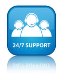 24/7 Support (customer care team icon) special cyan blue square Royalty Free Stock Image