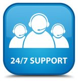 24/7 Support (customer care team icon) special cyan blue square. 24/7 Support (customer care team icon) isolated on special cyan blue square button abstract Stock Photography