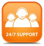 24/7 Support (customer care team icon) special orange square but. 24/7 Support (customer care team icon) isolated on special orange square button abstract Royalty Free Stock Photography
