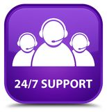 24/7 Support (customer care team icon) special purple square but. 24/7 Support (customer care team icon) isolated on special purple square button abstract Royalty Free Stock Photo