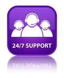 24/7 Support (customer care team icon) special purple square but. 24/7 Support (customer care team icon) isolated on special purple square button reflected Stock Images
