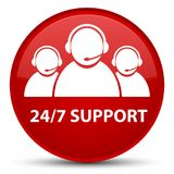 24/7 Support (customer care team icon) special red round button. 24/7 Support (customer care team icon) isolated on special red round button abstract Stock Image