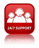 24/7 Support (customer care team icon) special red square button Stock Photo