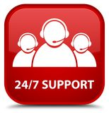 24/7 Support (customer care team icon) special red square button Royalty Free Stock Photo