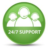 24/7 Support (customer care team icon) special soft green round. 24/7 Support (customer care team icon) isolated on special soft green round button abstract Stock Photography