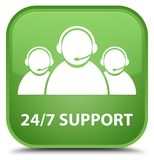 24/7 Support (customer care team icon) special soft green square. 24/7 Support (customer care team icon) isolated on special soft green square button abstract Royalty Free Stock Photo