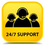 24/7 Support (customer care team icon) special yellow square but. 24/7 Support (customer care team icon) isolated on special yellow square button abstract Royalty Free Stock Photo