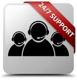 24/7 Support (customer care team icon) white square button red r. 24/7 Support (customer care team icon) isolated on white square button with red ribbon in Royalty Free Stock Photo
