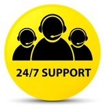 24/7 Support (customer care team icon) yellow round button. 24/7 Support (customer care team icon) isolated on yellow round button abstract illustration Stock Photos