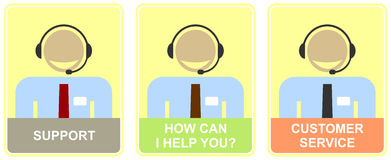 Support, customer service, call center. Support - set of colored  icons for customer service. Illustration of live web support or call center. Smiling man with Stock Photo