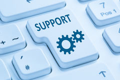 Support customer service help online internet blue computer keyb Stock Photos