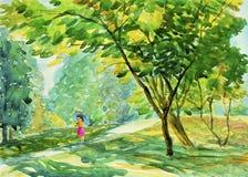 Support d'enfant de fille regardant le beau jardin illustration de vecteur