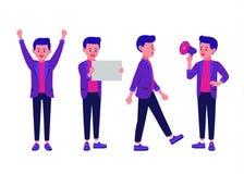 Support d'homme d'affaires avec des bras sur les hanches et à l'aide du mégaphone et marche et l'expression autre dans une collec illustration stock