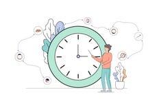Support d'homme d'affaires et pointage à l'horloge énorme illustration de vecteur