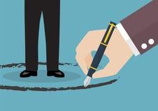 Support d'homme d'affaires à l'intérieur d'un cercle peint par la grande main Image libre de droits