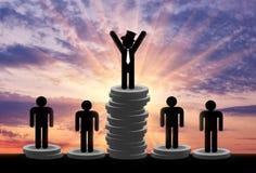 Support d'hommes riches et pauvres sur l'argent Image libre de droits