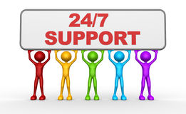 24/7 SUPPORT. 3d people - man, person and banner. 24/7 SUPPORT Royalty Free Stock Photo