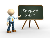Support 24/7. 3d people - man, person with a blackboard. 24/7 support Royalty Free Stock Images