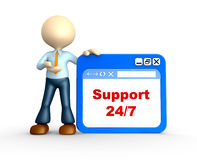 Support 24/7. 3d people - man, person with browser window. Support 24/7 Stock Images