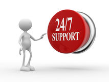 Support 24/7. 3d people - man, person with a button and text  support 24/7 Stock Photos