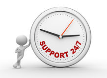 Support. 3d people - man, person with a clock and text support 24/7 stock illustration