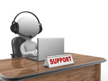 Support. 3d people - man, person with headphone and a laptop. Support vector illustration