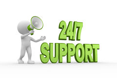 Support. 3d people - man, person with a megaphone. 24/7 support Stock Photo