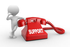 Support. 3d people - man, person and phone. Support Royalty Free Stock Photo