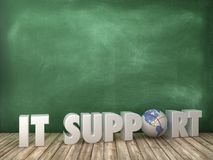 IT SUPPORT 3D Word with Globe World on Chalkboard Background. High Quality 3D Rendering stock illustration