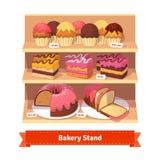 Support de boutique de boulangerie avec les desserts doux Photos stock