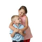 Support de garçon et de fille embrassé Photos libres de droits