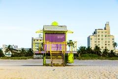 Support de maître nageurs à la plage du sud Image libre de droits