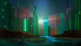 Support de magicien sur la roche avec la rivi?re et la ville de la science fiction la nuit Peinture de Digitals illustration stock