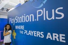 Support de Playstation à la semaine 2014 de jeux à Milan, Italie Photographie stock