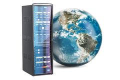 Support de serveur avec le globe de la terre Le concept global d'Internet, 3D rendent Images stock