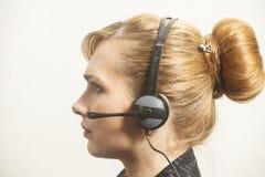 support de téléphone d'opérateur d'écouteur photo libre de droits