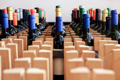 Support des bouteilles de vin avec le label vide Images libres de droits