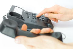 Support. dial on telephone Stock Photography