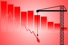 Support down stock market declines Stock Photo