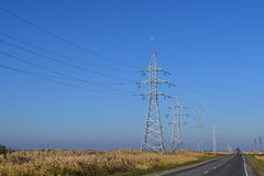 Support of electricity cables along the road Royalty Free Stock Photography