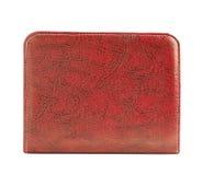 Support en cuir rouge d'enveloppe d'isolement Photo stock