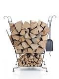 Support en métal de bois de chauffage Images stock