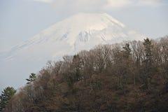 Support Fuji derrière l'arête couverte de forêts photo stock