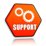 Support and gears sign in hexagon button Royalty Free Stock Images