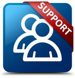 Support (group icon) blue square button red ribbon in corner Stock Photography