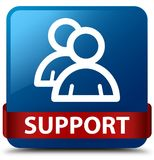 Support (group icon) blue square button red ribbon in middle Royalty Free Stock Image