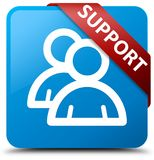 Support (group icon) cyan blue square button red ribbon in corne Stock Images
