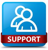 Support (group icon) cyan blue square button red ribbon in middl. Support (group icon) isolated on cyan blue square button with red ribbon in middle abstract Royalty Free Stock Image