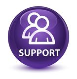 Support (group icon) glassy purple round button. Support (group icon) isolated on glassy purple round button abstract illustration Royalty Free Stock Photo